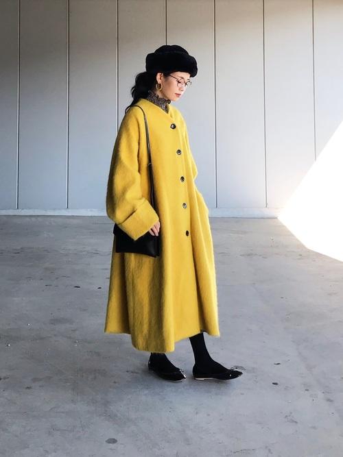 ロシアン帽×カラーコート