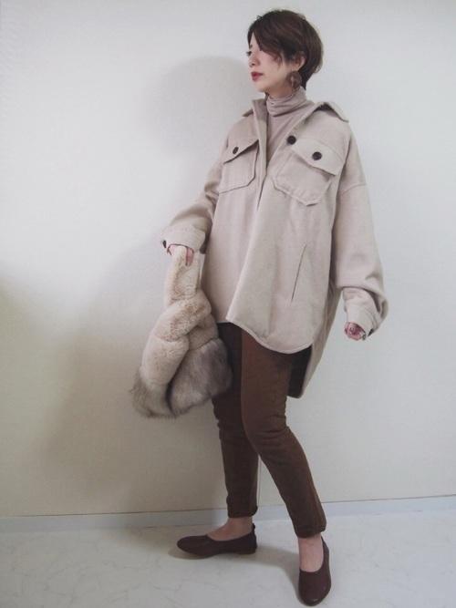 ジャケット×ファーバッグ