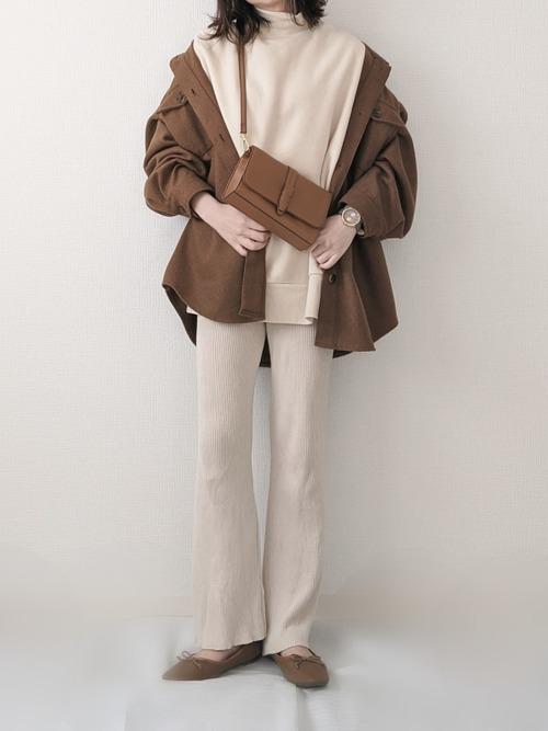 茶色シャツジャケットの冬プチプラコーデ