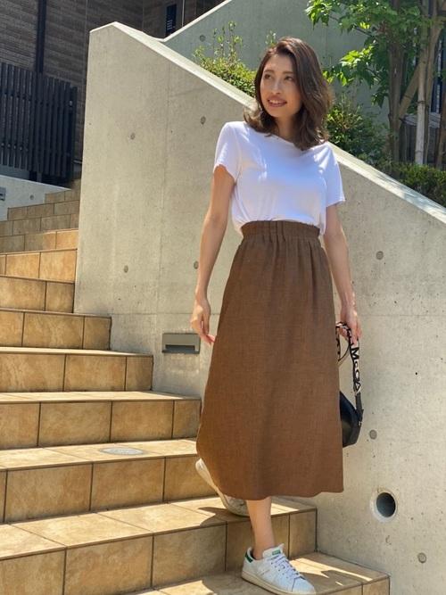 Tシャツ×スカートの30代プチプラコーデ