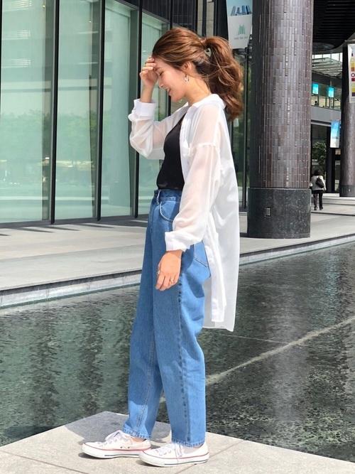 シアーシャツ×デニムの30代プチプラコーデ