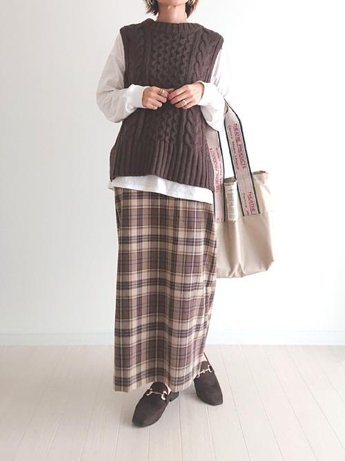 GUチェック柄スカート