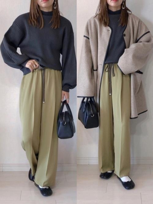 緑パンツ×黒パンプス×靴下の冬ファッション