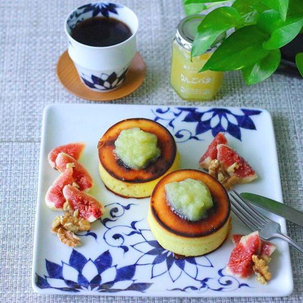 イチジクとクルミ&りんごバターホットケーキ