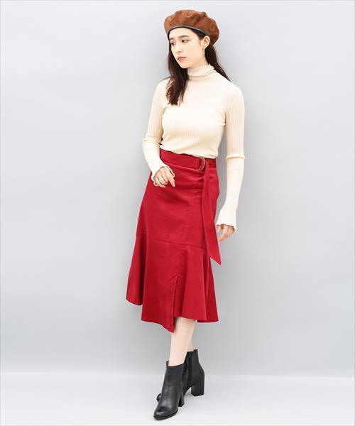 [ADAM ET ROPE'] コーデュロイリボンスカート
