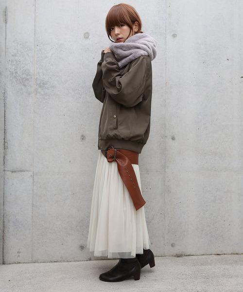 ふわふわスヌード×チュールスカート