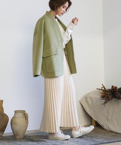 [select MOCA] プリーツニットスカート/ウエストゴム入りプリーツデザインひざ下丈ニットスカート