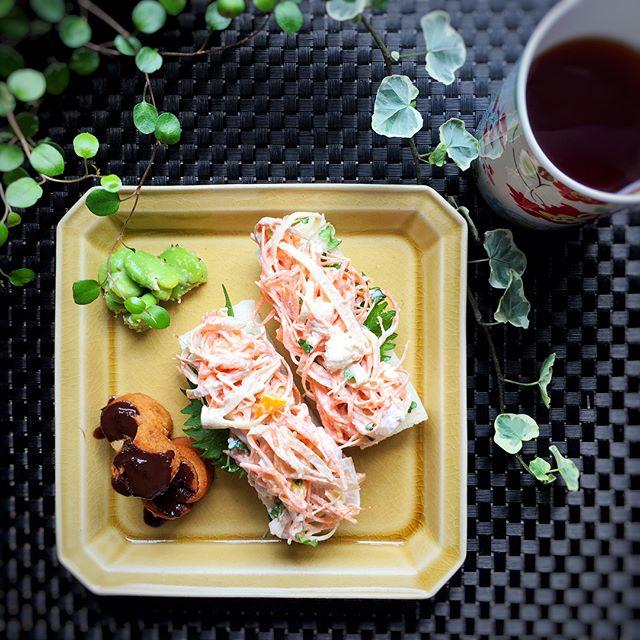 朝食に!ごぼうサラダのオープンサンド