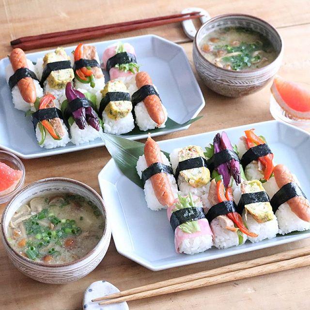 お盆の集まりに♪にぎり寿司風おにぎり
