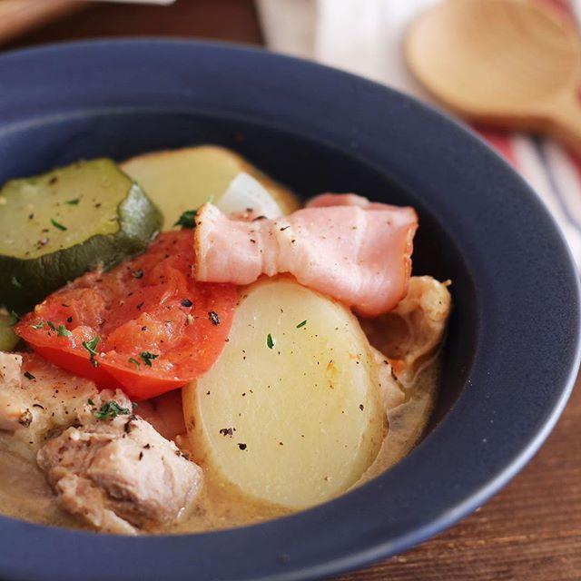 塩バターで野菜が美味しい♪スープで食事