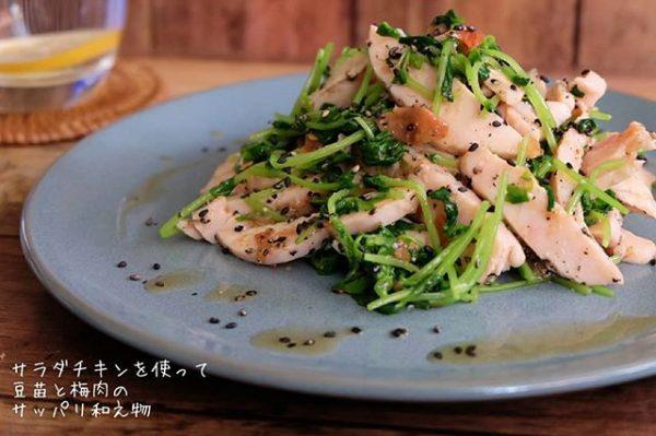 主菜にも!サラダチキンの豆苗と梅肉の和え物