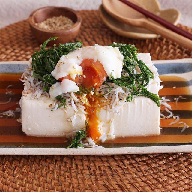 豆腐をそのまま使用!しらすと大葉の豆腐