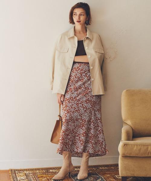 [archives] 【低身長さん向けSサイズ有】単色花デシンスカート