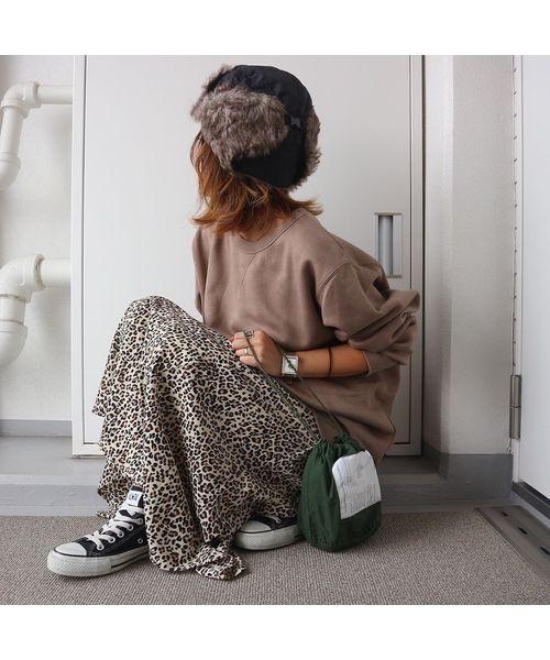 ファーフライト帽子×柄スカート