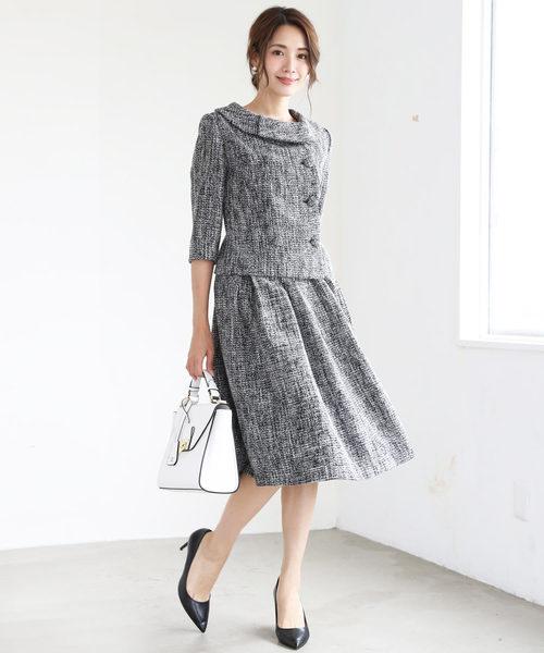 [C.R.E.A.M] ツイード ロールカラー フレア スカート フォーマル セットアップ スーツ【2点セット】結婚式