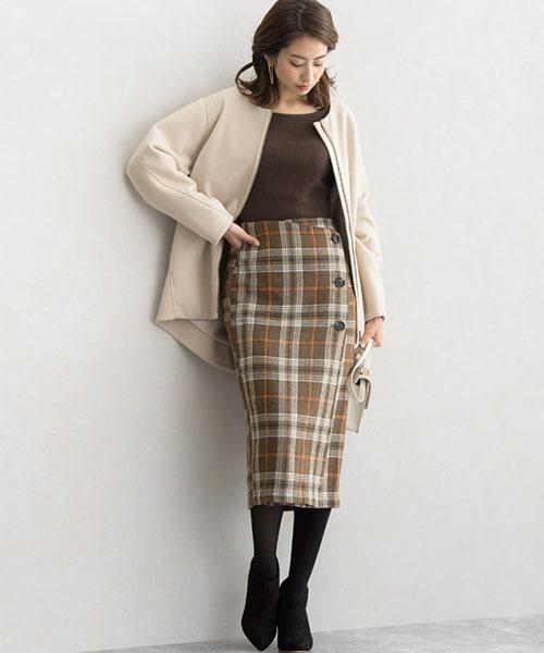 [Pierrot] ラップデザインチェックタイトスカート