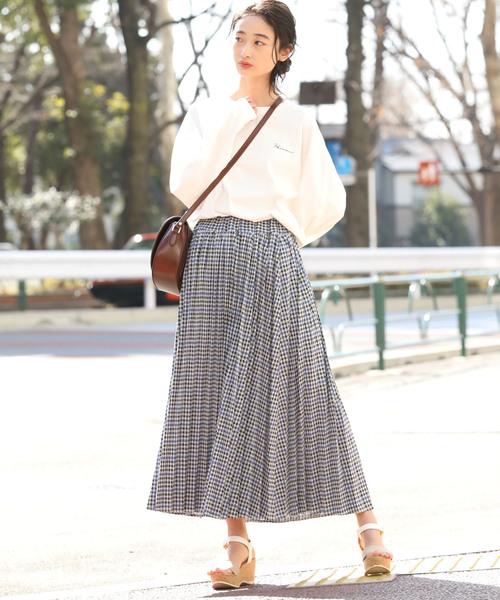[ViS] 【WEB限定】チェックジャガードプリーツスカート