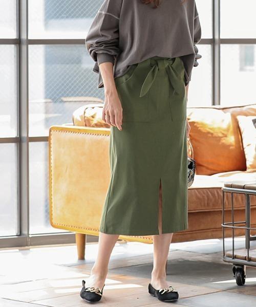 [ミディアム丈/ロング丈]ウエストリボン付き2Wayストレッチタイトスカート