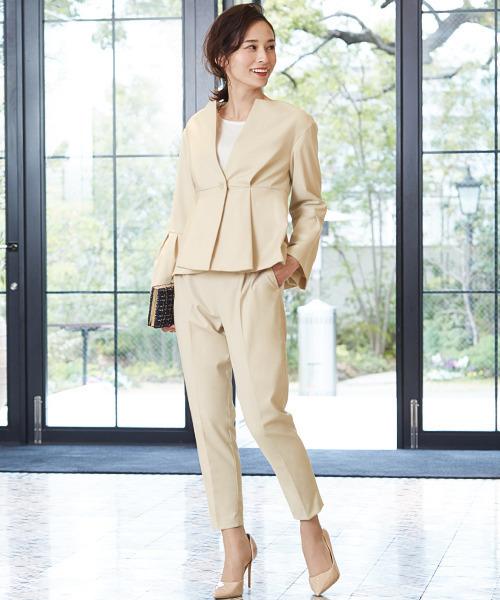 [GIRL] ベルスリーブノーカラージャケット&テーパードパンツの2点セットアップスーツ - ビジネス・オフィスシーン対応フォーマルキャリアスーツ