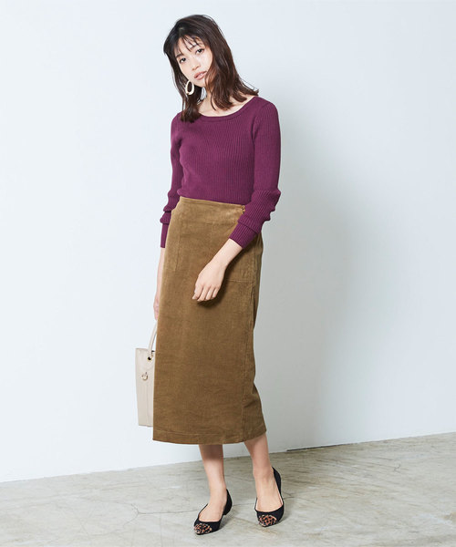 [ur's] ウエストバックゴムコーデュロイタイトスカート