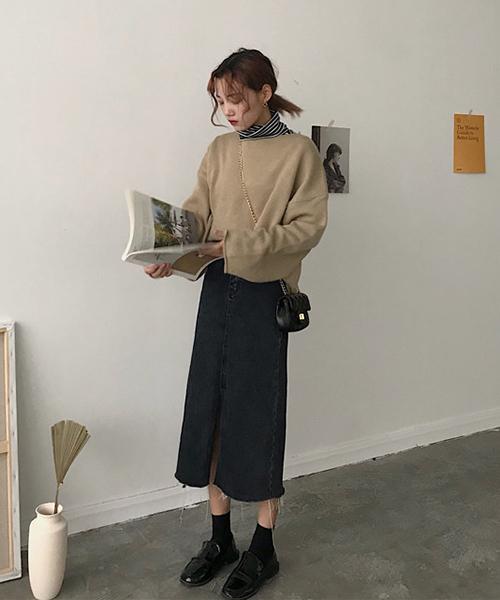 【Mayree】ブラックデニムタイトスカート