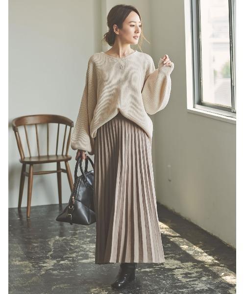 [Re:EDIT] [低身長向けSサイズ対応]ソフトニットプリーツロングスカート