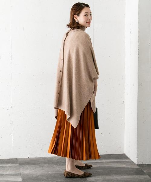 ニットポンチョ×ロングスカート