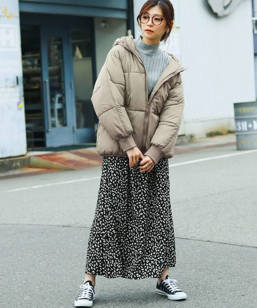 [Fashion Letter] フードBIGフェイクダウンジャケット