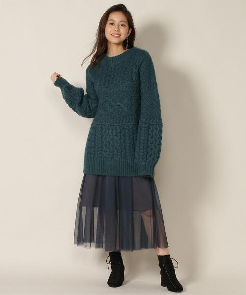 [REDYAZEL] ベルト付きチュールデザインスカート