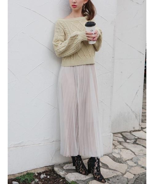 [ROYAL PARTY] ベルト付チュールスカート