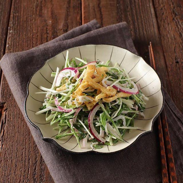 夕飯に合う!水菜としらすのコールスローサラダ