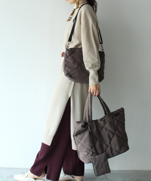 [VitaFelice] キルティングバッグ マザーズバッグ 2way旅行 ビッグトートバッグ ナイロントートバッグ