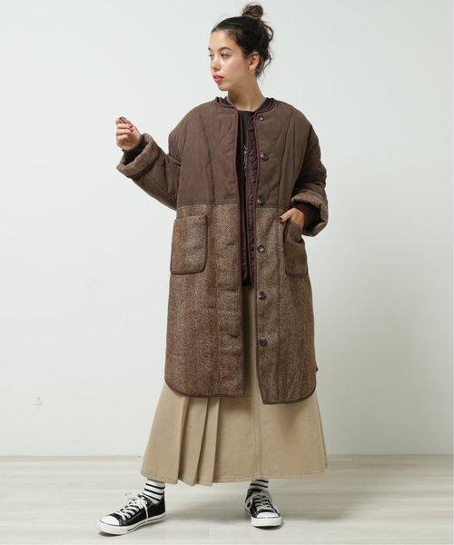 [DOUBLE NAME] キルティングXヘリンボーン切替ノーカラーコート