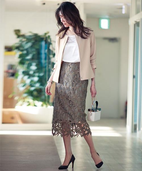 [Ranan] リボンレーススカートセットスーツ