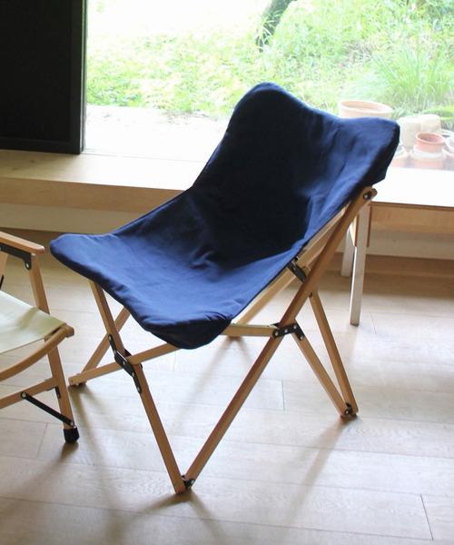 [SPICE OF LIFE] バカンス キャンバスフォールディングウッドチェア 折り畳み椅子