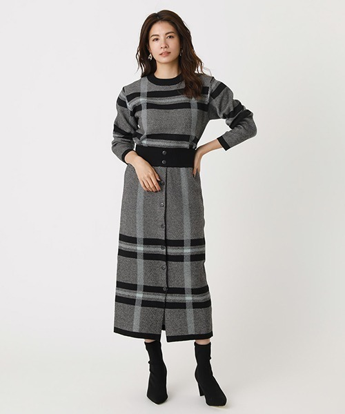[AZUL BY MOUSSY] BIG CHECK KNIT SK/ビッグチェックニットスカート