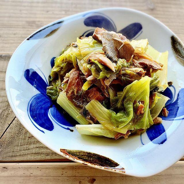 簡単でおすすめ山東菜とさば缶の味噌煮