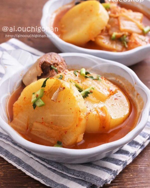 冬野菜でお酒が進む!大根のピリ辛キムチ煮