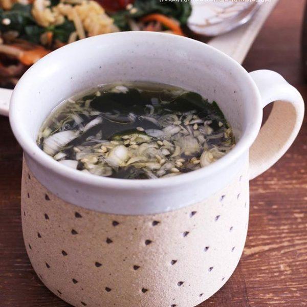 ささっと簡単なわかめとネギのスープ