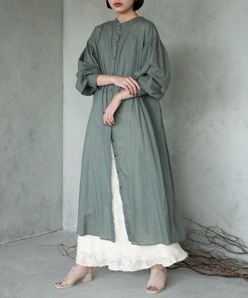 [YARD PLUS/AUNT MARIE'S] AUNT MARIE'S 2WAYスタンドカラーシャツワンピース