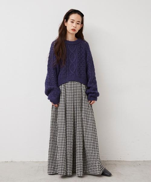 [YARD PLUS/AUNT MARIE'S] Libra ギンガムチェックボリュームスカート