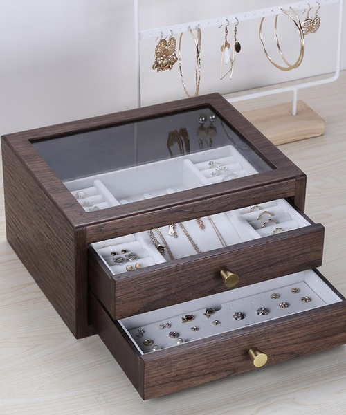 [aimoha] アクセサリー 木製 大容量 収納ボックス