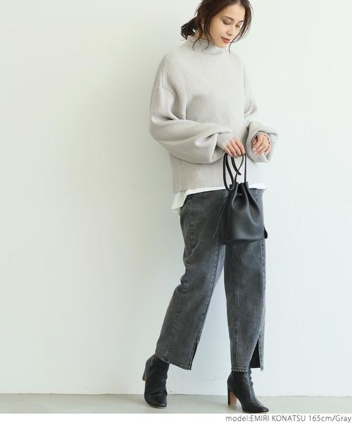 [coca] 袖ボリュームニットトップス