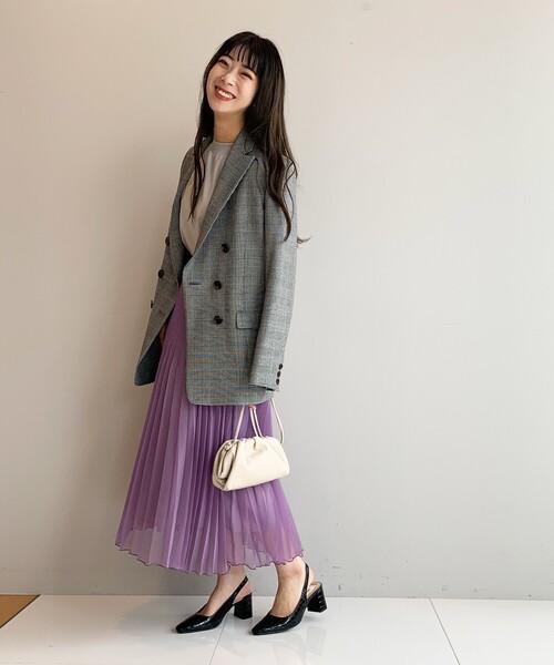 [AG by aquagirl] 【WEB限定Lサイズあり】アソートチェック柄ダブルブレストジャケット
