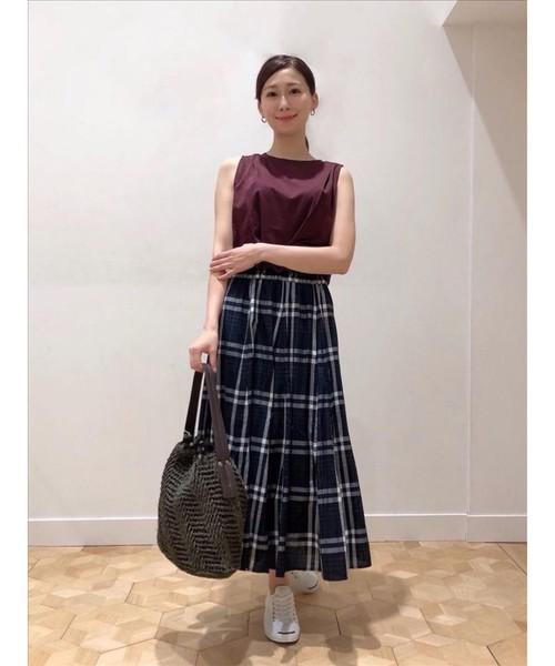 [WORLD ONLINE STORE SELECT] 【XS~Lサイズあり・洗える】ガーゼチェックフレアスカート