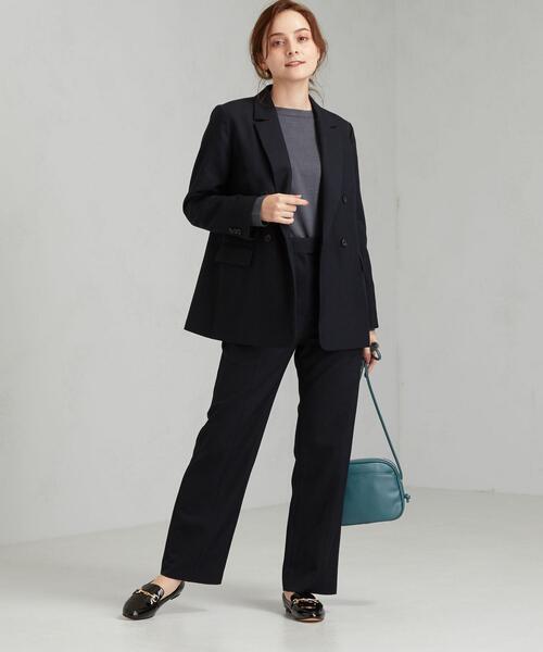 紺Wジャケット×パンツの面接コーデ