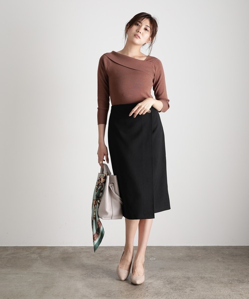 【低身長/高身長向けサイズ対応】【EASY CARE】アシメラップIラインスカート