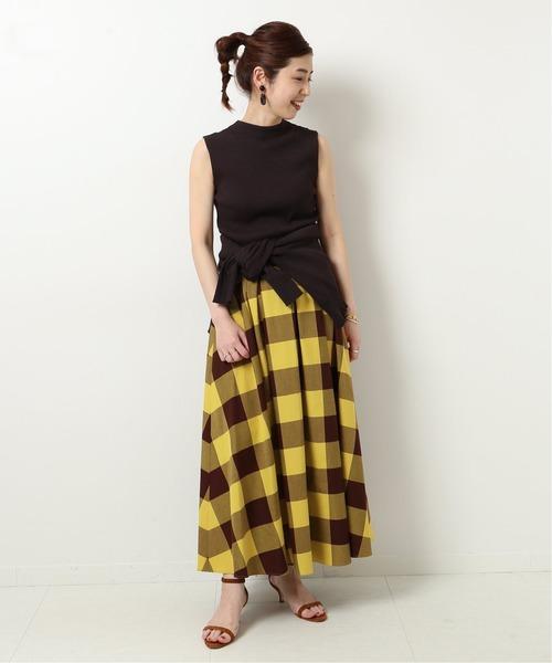 [Spick & Span] ブロックチェックタックフレアースカート◆