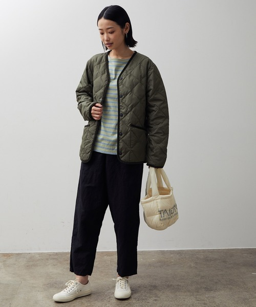 [ADAM ET ROPE'] 【TAION】PIPING V NECK DOWN CARDIGAN
