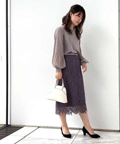 【美人百花11月号掲載】花柄レースタイトスカート